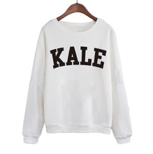Hoodies Black White Pullover Female Tracksuit Tops KALE Sweatshirt Streetwear Fashion Women Long Sleeve Crewneck(China)