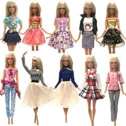 NK Neueste Puppe Kleid Schöne Outfit Handgemachte Party Kleidung Top-Mode-Rock Für Barbie Edle Puppe Beste Kind Girls'Gift JJ