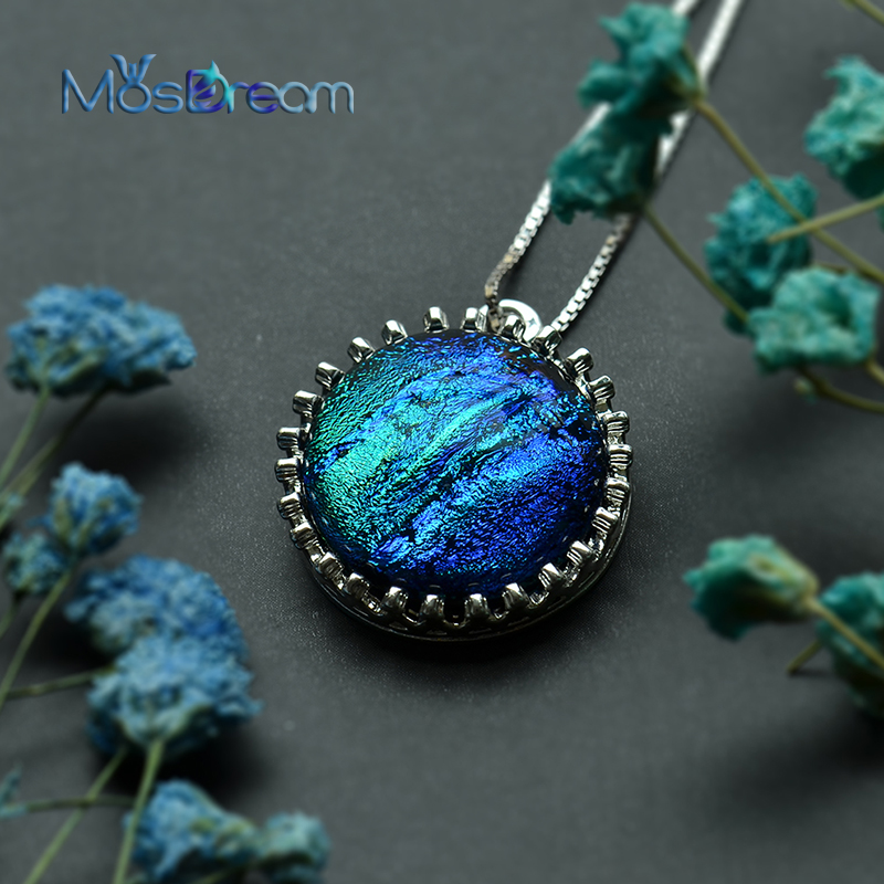 MosDream Heart of the Ocean Pendant Necklace s925 silver Not knotted chain Ancient crystal necklace for