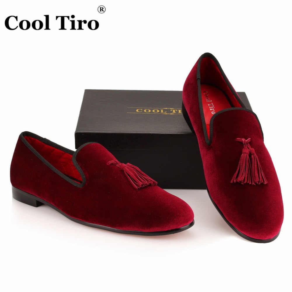 bf6e8ed50d5 ... COOL TIRO Tassel Loafers Men Velvet Shoes Red Wine Velour Slippers  Smoking Men s Flats Wedding Party ...