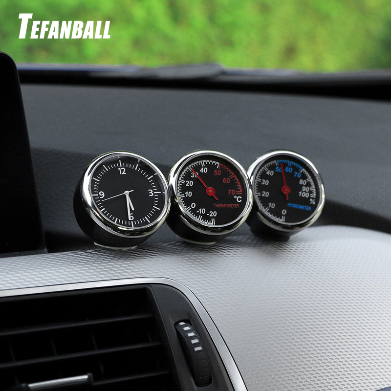 Round Shape Car Automobile Digital Clock Auto Watch/Thermometer/Hygrometer Car Interior Decoration Ornament Car Styling-in Clocks from Automobiles & Motorcycles