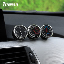Round Shape Car Automobile Digital Clock Auto Watch/Thermometer/Hygrometer Car Interior Decoration Ornament Car Styling(China)