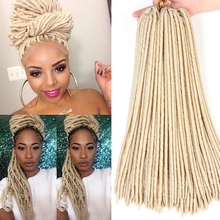 Blonde Faux Locs Crochet Hair 18inches Synthetic Braiding Hair 24 Roots Crochet Hair Extensions Soft Dreadlocks Extenions