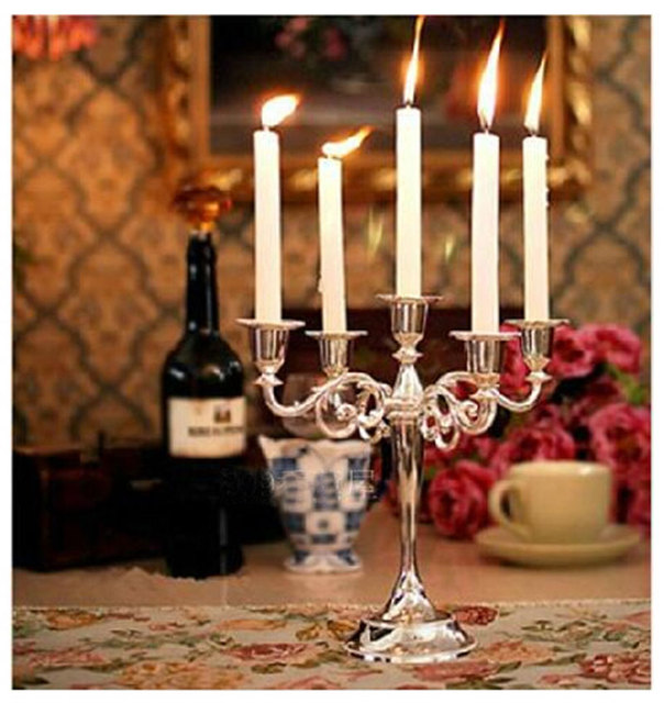 Candelabra Home Decoration Candle Holder Metal Classic Candle Stand 5  Branch Desktop Decoration Party Wedding Decor