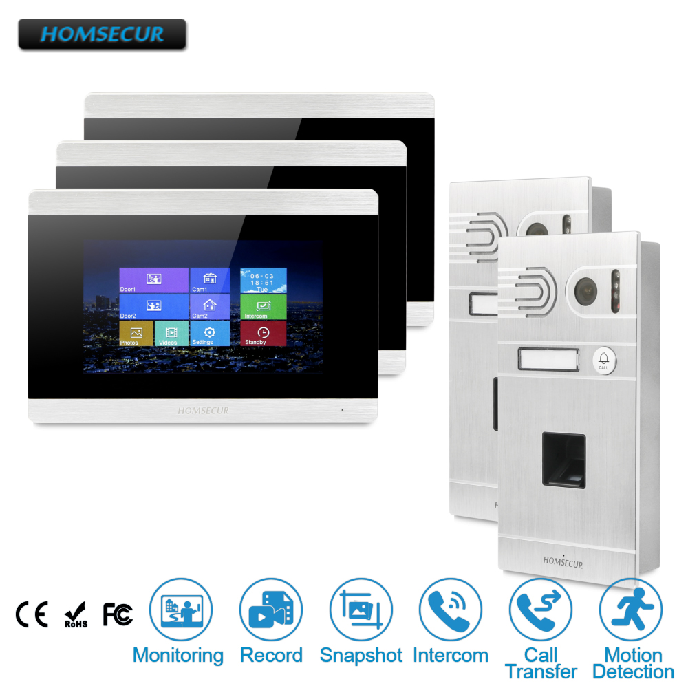 HOMSECUR 7 Wired Video&Audio Home Intercom+Fingerprint Camera+Touch Screen Monitor For Apartment  BC061-S + BM715-S HOMSECUR 7 Wired Video&Audio Home Intercom+Fingerprint Camera+Touch Screen Monitor For Apartment  BC061-S + BM715-S