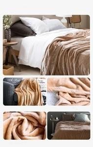 Image 2 - Ciemny niebieski koc z polaru koc na łóżko/sofa zmodernizowane flanela koc dla jesień/wiosna, dla dorosłych miękka pościel 380G/M2