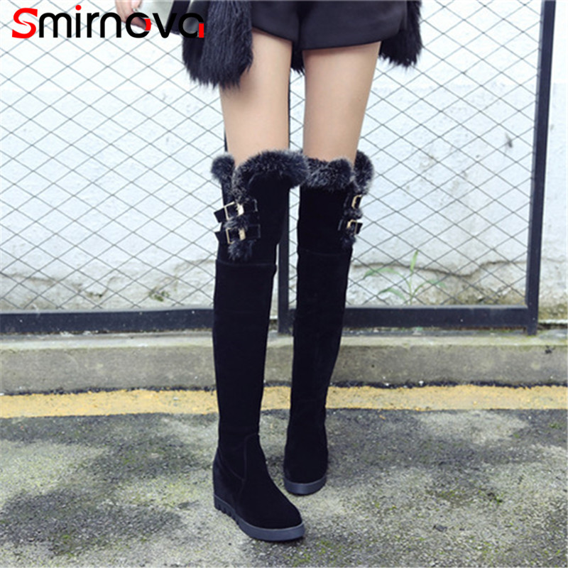 Smirnova NEW arrive large size shoes 2018 winter keep warm over the knee boots flock woman boots high heel hot fur thigh boots