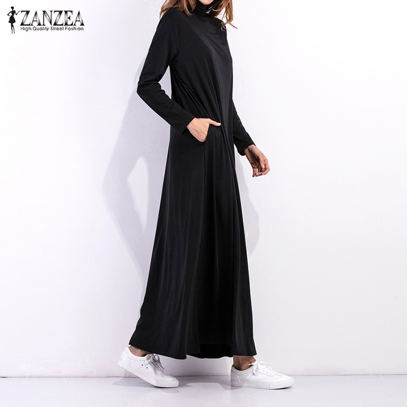 948c7a251a07 2018 Autumn Dress Women Long Sleeve Turtleneck Long Maxi Dresses Ladies  Solid Black Dress Loose Pockets Casual Vestidos-in Dresses from Women s  Clothing on ...