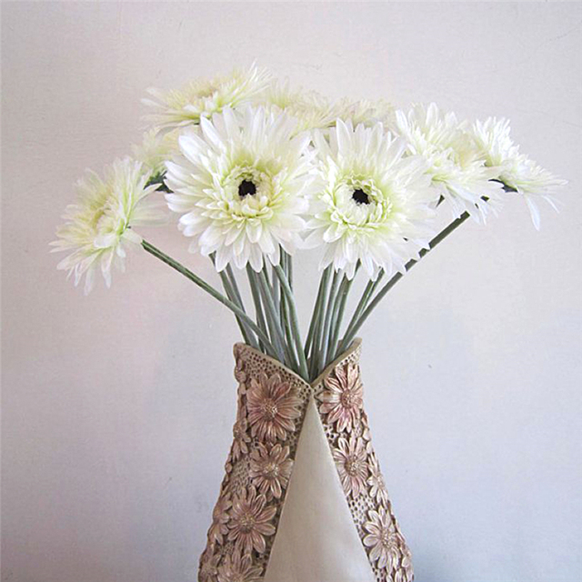 6pcslot ivory white gerbera daisy artificial flowers bouquet 6pcslot ivory white gerbera daisy artificial flowers bouquet wedding silk flowers home festive decorative mightylinksfo