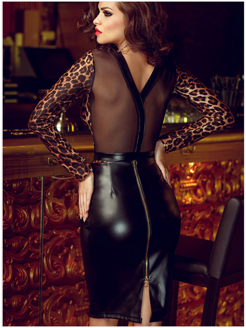 Sexy Leopard Print Dress Women Long Sleeve Mesh Patchwork Vestido ... a8b6bf289