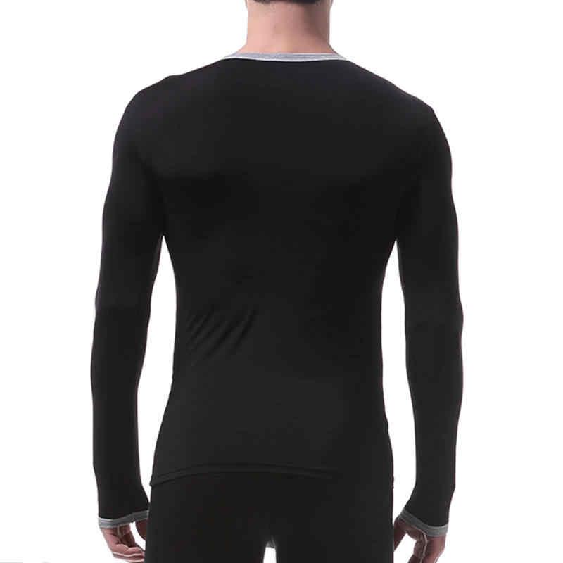 Ropa interior de seda de hielo para hombre de otoño Camiseta ajustada de manga larga para Hombre Camisetas cálidas cuello redondo ropa interior nueva