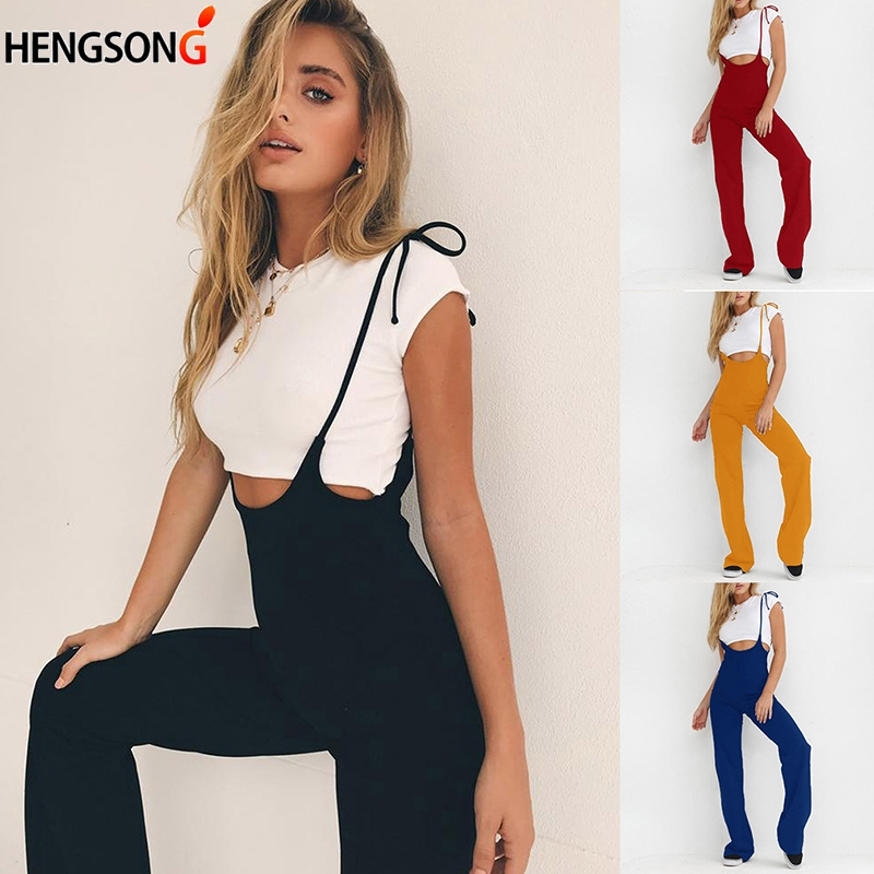 HENGSONG Fashion Lace Up Rompers Womens Jumpsuit Black High Waist Broek Casual Overalls Vrouwen Broek Overalls Women Pants