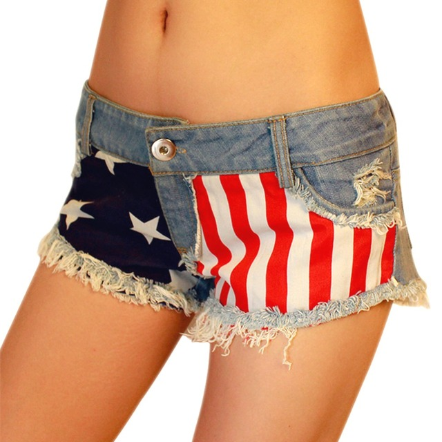 Pantalones cortos Vaqueros de Las Mujeres Agujero Hip Hop Denim Short Sexy Americana Flag Mini Jeans Pantalones Bajo La Cintura de La Moda Femenina Del Verano 2016 01C0313