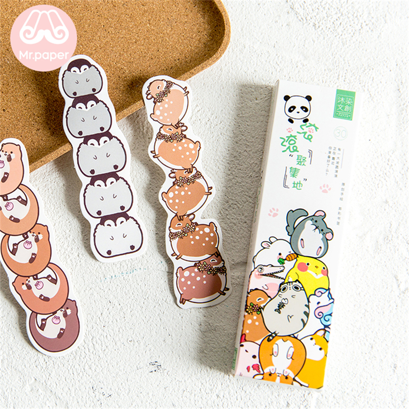 Mr Paper 30pcs/box Kawaii Cartoon Animals Irregular Bookmarks For Novelty Book Reading Maker Page Paper Bookmarks Child Gifts