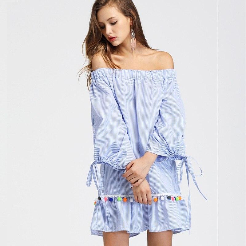 a1fcb8276ab CHANGYUGE Women Summer Long Sleeve Boho Dress Tassel Trim Striped Flounce  Bardot Dress Blue Striped Off The Shoulder Shift Dress-in Dresses from  Women s ...