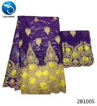 LIULANZHI tissu bazin riche getzner african fabrics purple and yellow latest flower pattern 5yards fabric+2yards lace 2B10