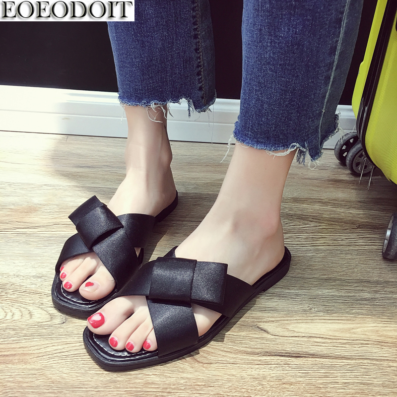 EOEODOIT Flat Heel Satin Cloth Slippers Open Toe Slip Resistance Fashion Slides Women Casual Sandals Vintage Holiday Shoes ...