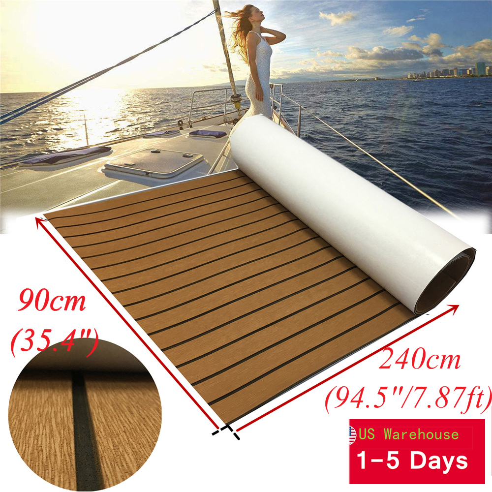 "Wood Brown Boat Teak Decking Sheet Marine Flooring Mat EVA Carpet 35.4/""x94.5/"""