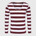Long Sleeve Men T-Shirt Striped T Shirt Male V Neck T Shirts For Men Slim Fit Vintage Casual Mens Clothing