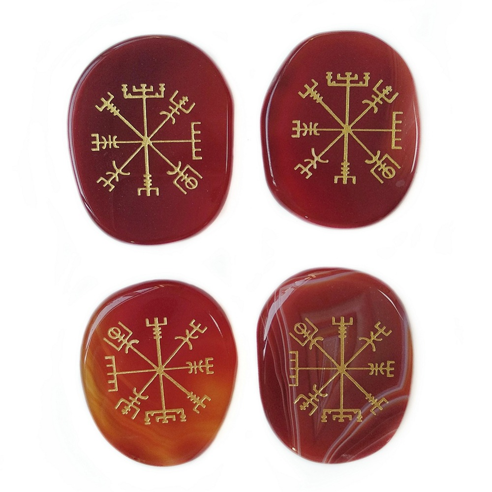 Compass Palm-Stone Viking Rune Carved Healing-Crystals Natural Reiki Carnelian Symbols
