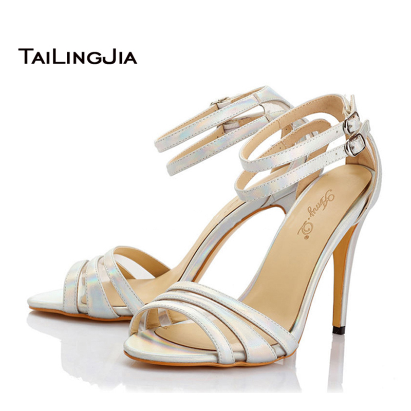 ФОТО Woman Sandals 2017 Peep Toe Ankle Buckle Caged Heeled White Elegant High Heel Sandals Office Lady Shoes US Size 4 to 15.5