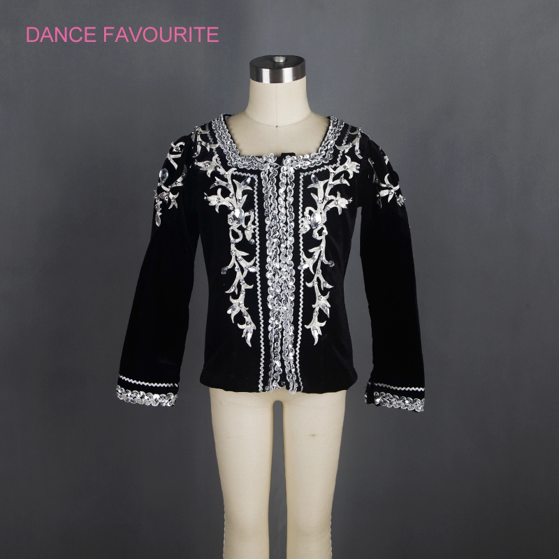 Men Professional Ballet Top Costume,Black Velvet Boys Ballet Tunic,Male Ballet Stage Performance Ballet Jacket Outwear