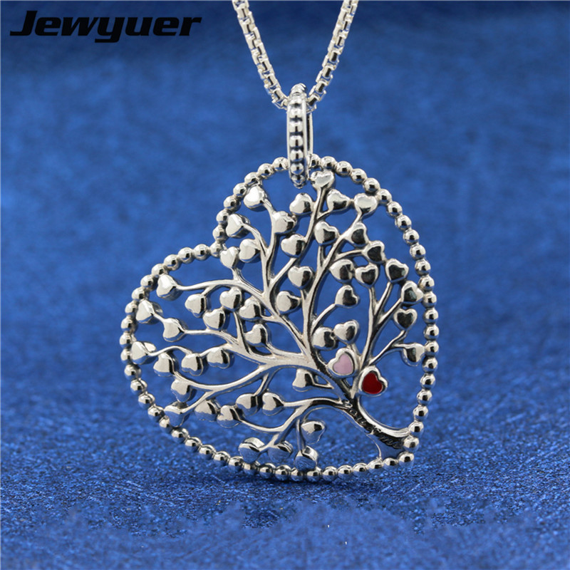 Tree of Love Enamel Necklace for Women 925 Sterling Silver link chain Necklace with heart pendant Women Jewelry Jewyuer NC033Tree of Love Enamel Necklace for Women 925 Sterling Silver link chain Necklace with heart pendant Women Jewelry Jewyuer NC033