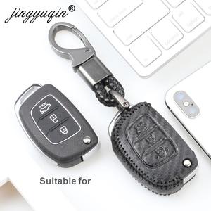 Image 3 - Carbon Leather Key Case Key Fob Cover Keychain For Hyundai Creta Tucson Elantra Santa Fe ix25 ix35 i20 i30 HB20 Verna Mistra