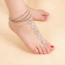 Fashion Bohemia Nationality Antique Silver Round Flower Coin Anklet For Women Fine Jewelry 3591