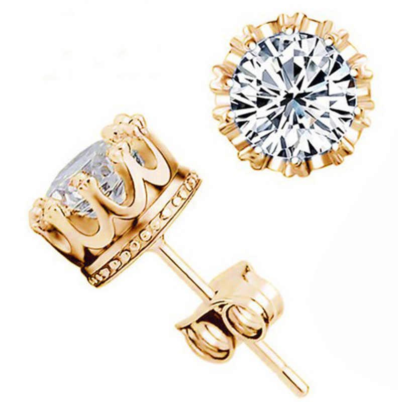 Moda corona joyería de color oro 6mm 2 quilates AAA Zirconia cúbica pequeños pendientes para mujer