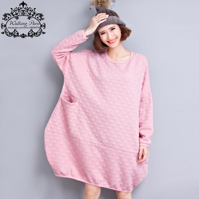 2017 Nuevo Tamaño Grande T-Shirt de Algodón Mujeres de Otoño Polka Dot moda femenina de gran tamaño del o-cuello ocasional rosa sweet plus tops & tees bolsillo