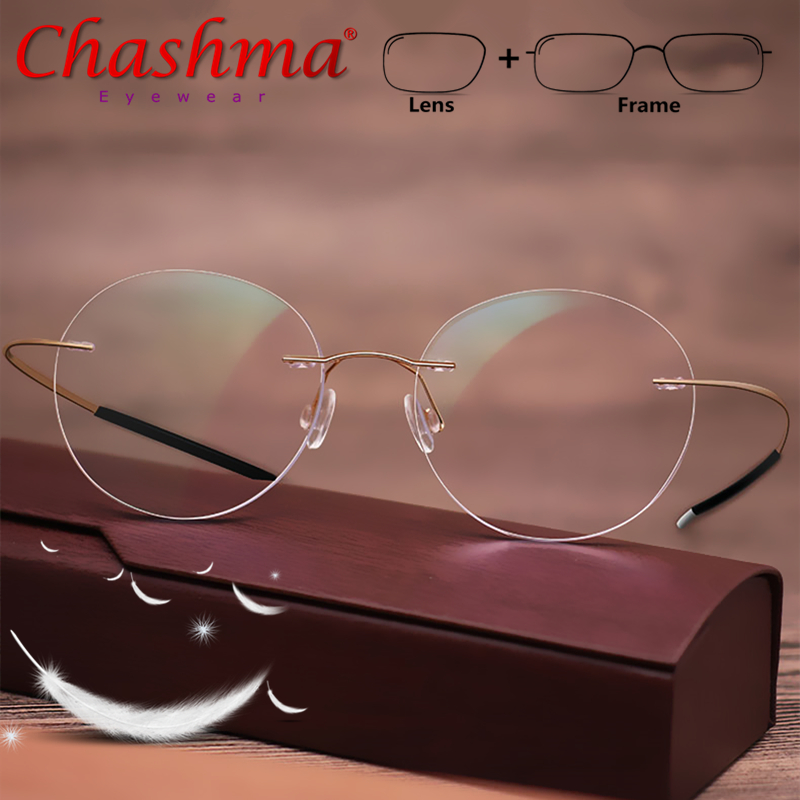 Retro Round Titanium Frameless Prescription Glasse
