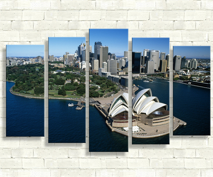 5 Panels Building Wall Art Painting Sydney Opera House Landscape Modern Home Decoration Print Picture Canvas Painting Unframed
