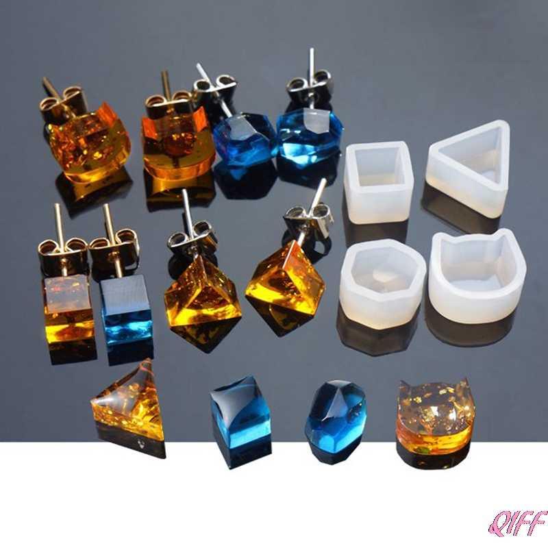 Gota y venta al por mayor DIY pendiente de silicona oreja perno molde que hace la joyería resina molde de fundición, herramienta para manualidades APR28
