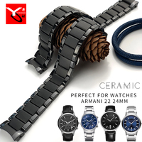 22mm 24mm Ceramic Watch Strap New Fashion Stainless Steel Butterfly Buckle Watchband Suitable for Armari Wrist Watch Accessories