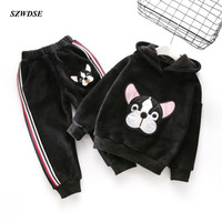 Children's winter thick warm sets dog printed pullover plush-ball hooded coat+full-length trousers boy/girls' Xmas clothes gift
