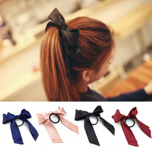 Bow Streamers Hair Ring Ribbon Girl Hair Bands Scrunchies Horsetail Tie Solid Headwear Hair Accessories(China)