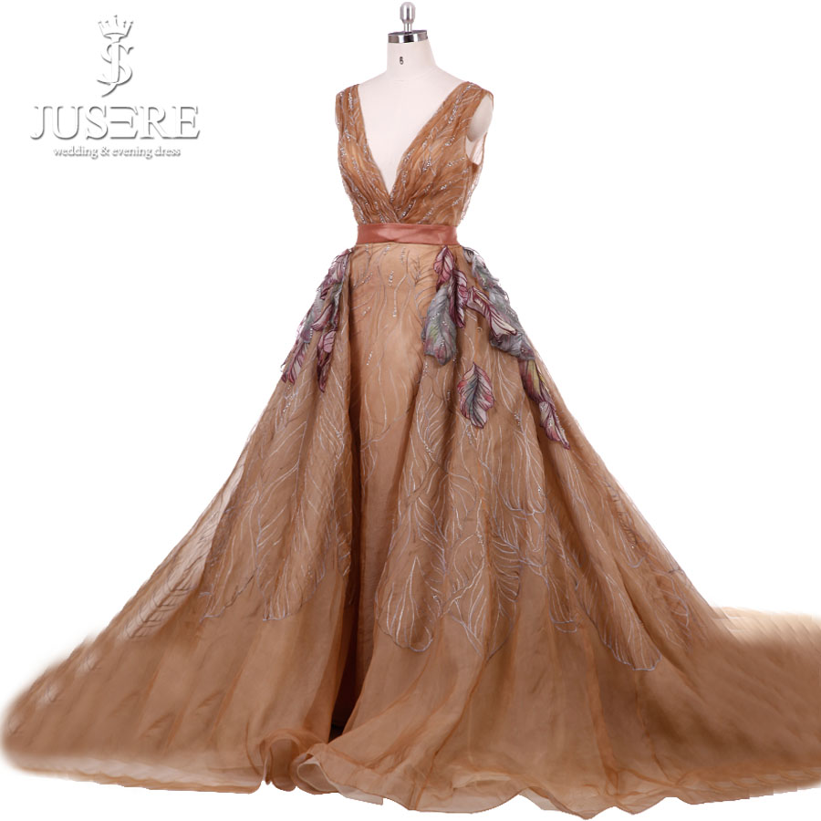 New Champagne Embroidery Branch Organza Chapel Train Paiting Leaf Applique Beaded Deep V neck Belt Evening Dress Prom Dress 2018