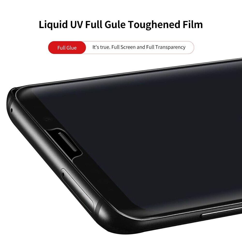 La pegamento de vidrio templado para Samsung Galaxy S9 S9 + S8 S8 + s67edge Note8 Note9 Pantalla Completa cobertura 3D líquido Uv Protector de pantalla