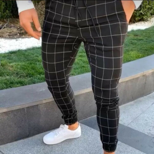 Hirigin Plaid Pants Tracksuit Long-Trousers Fit-Workout Casual