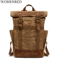 Hot New Vintage Men Laptop Backpack Large Capacity Multifunction Backpacks Male Canvas School Bags Portable Wearproof