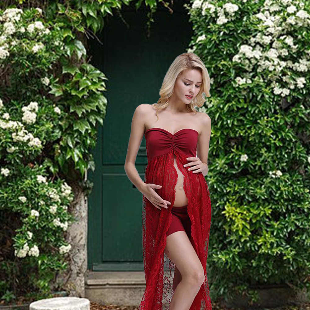 b058cb6ebe224 ... Maternity Dress Photo Shoot Maxi Long Maternity Gown Lace Tube Split  Front Maternity Gowns Sexy Maternity ...