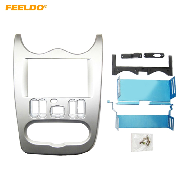 FEELDO Car 2 DIN Stereo Fascia Plate Panel Frame For Renault Logan 2010-2013 Radio Dash Frame Trim Mount Kit цены