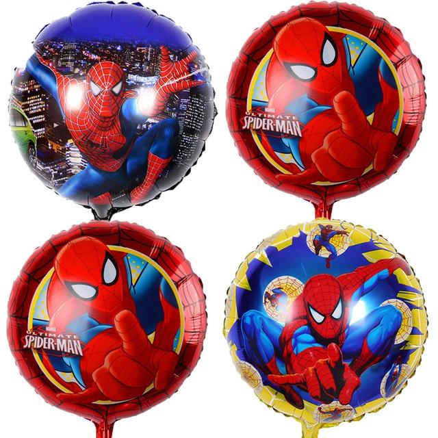 5 pcs 45*45 cm Spiderman Balões Folha Hélio ballon Decoração de Aniversário da criança Balão Crianças Brinquedos do Partido Bebê Menino balões de ar