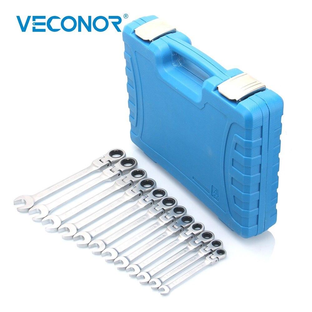 Veconor 8-19mm combinaison clé à cliquet jeu de clés 72 T Flex Head acier poli terne avec boîtier en plastique