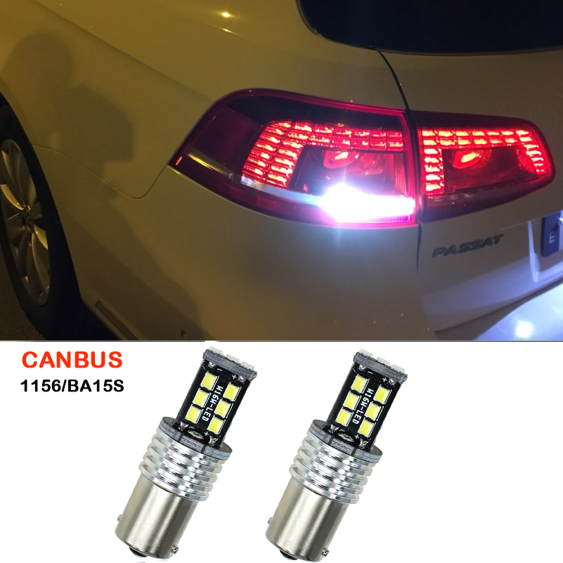 2x White P21W BA15s 1156 LED Canbus Reverse Light Backup Reverse Lamp For Volkswagen VW Passat B5 B6 B3 B4 B2 B1 B3 Tail Bulb passat b3 светодиодные фары купить