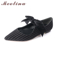 Meotina 2018 Velvet Shoes Women Ballet Flats Bow Knot Mary Jane Shoes Spring Pointed Toe Ladies