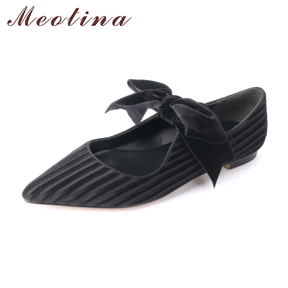 Meotina 2018 Velvet Shoes Women Ballet Flats Bow-knot Mary Jane Shoes Spring Pointed Toe Ladies Shoes Flats Footwear Black Green meotina women flat shoes ankle strap flats pointed toe ballet shoes two piece ladies flats beading causal shoes beige size 34 43