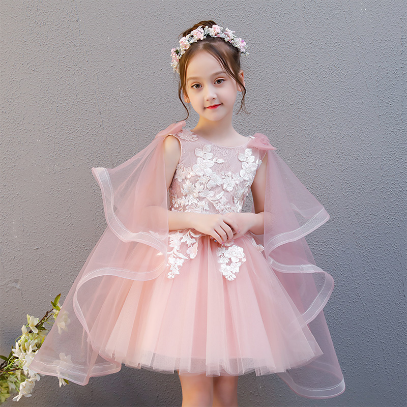 Luxury Flower Girl Dresses for Wedding Party Gowns Lace Up Kids Pageant Dress Appliques Ball Gown Birthday Evening Dress B196 kids evening gowns pearl beading flower girl dresses for wedding ball gown appliques girls pageant dress birthday costume b100