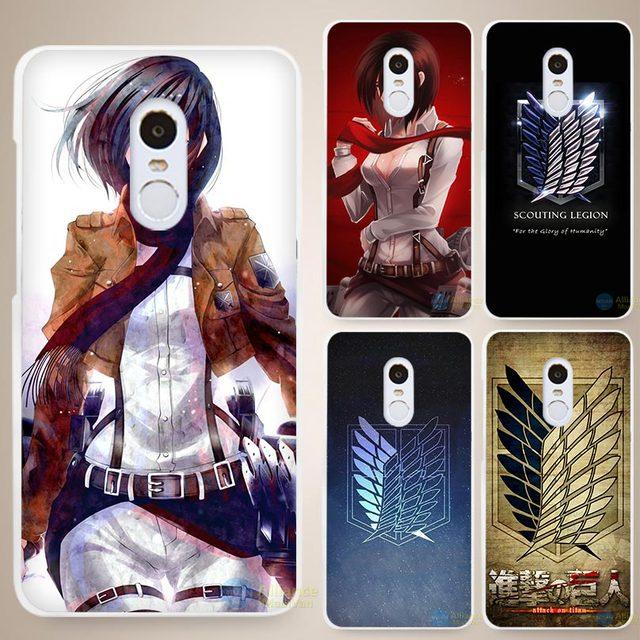 Attack On Titan Anime Hard White Phone Case Cover for Xiaomi Mi Redmi Note 3 3S 4 4A 4C 4S 5 5S Pro